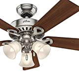Hunter Fan 44″ Brushed Nickel Ceiling Fan with Swirled Marble Glass Light Kit, 5 Blade (Certified Refurbished) Review