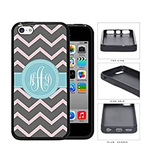 Gray And Pink Chevron With Light Blue Monogram (Custom Initials) Rubber Silicone TPU Cell Phone Case Apple iPhone 5c