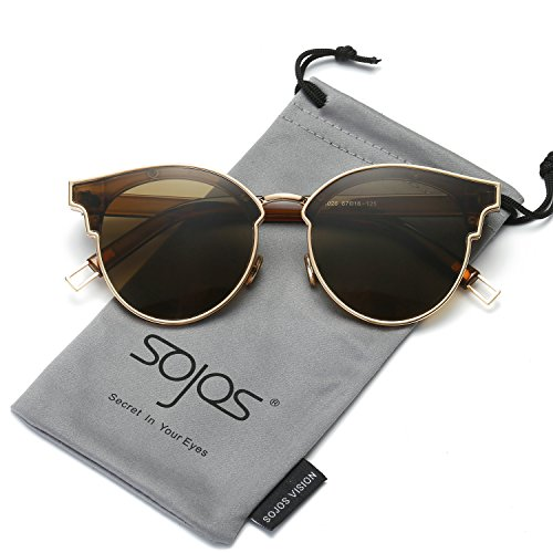 SojoS Fashion Designer Cateye Women Sunglasses Oversized Shades Flat Lens SJ1055 With Gold Frame/Brown - Sunglasses Vintage Looking