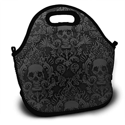 SARA NELL Neoprene Lunch Bag Insulated Halloween Floral Skull Black Lunch Tote Bags Lunchbox Handbag with Adjustable Shoulder Strap for Work School Outdoor Picnic -