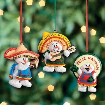 Mexican Christmas.3 Feliz Navidad Snowman Christmas Ornaments Mexican Holiday Decor Tree Decorations