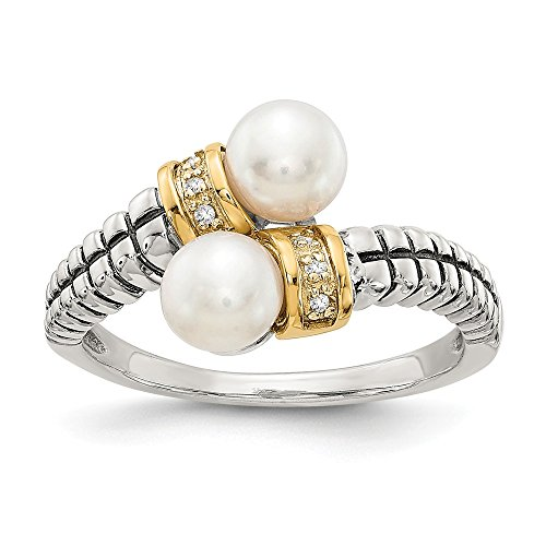 - 925 Sterling Silver 14k Freshwater Cultured Pearl Diamond By Pass Band Ring Size 7.00 Fine Jewelry Gifts For Women For Her