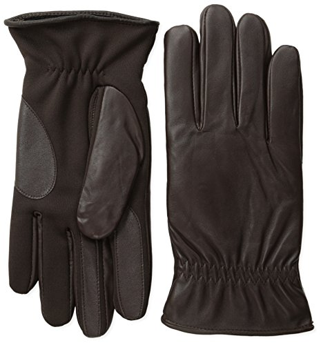 - Isotoner Men's Smartouch Leather Glove with Stretch Palm, Brown, Large