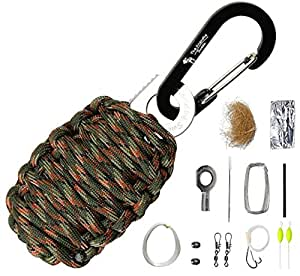 "The Friendly Swede Carabiner ""Grenade"" Survival Kit With Eye Knife, Pull with Needle, Wire, Tin Foil, Tinder, Fire Starter, Fishing Lines, Fishing Hooks, Weights, Swivels, Dobber Wrapped in 9 Feet of 500 Pound Paracord in Retail Packaging (Army Green Camo)"