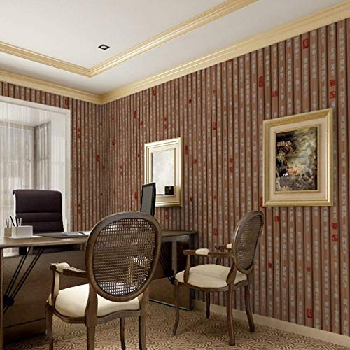 - Giow Wallpaper, Restaurant Tea House PVC Waterproof Wallcoverings Classical Calligraphy Bamboo Slip Wall Paper (Color : 1)