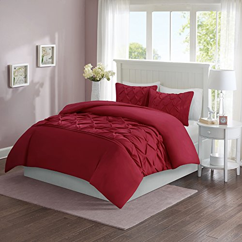 Comfort Spaces – Cavoy Duvet Cover Mini Set - 3 Piece – Red – Tufted Pattern With Corner Ties – King size, includes 1 Duvet Cover, 2 Shams (Cover 1 Duvet)