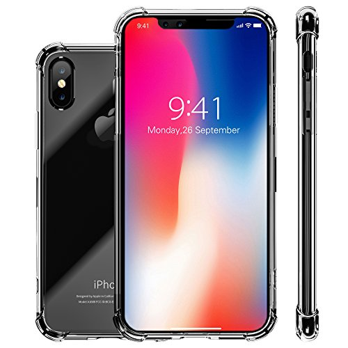 iPhone X Case, Clear Slim Hybrid Cute Armor Hard Anti Scratch Excellent Grip Flexible TPU Non Slip Non Bulky 360 Full Body Shockproof Drop-Proof Protective Cover for Apple iPhone X / 10 - Crystal