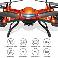 GEEDIAR JJRC H12WH 2.4GHz WIFI FPV Drone 2MP HD Camera Live Video RC Quadcopter Drone with 4CH 6-Axis Gyro Altitude Hold RTF 3D Flips and Rolls Headless Mode Brilliant LED Light Quadcopter by GEEDIAR