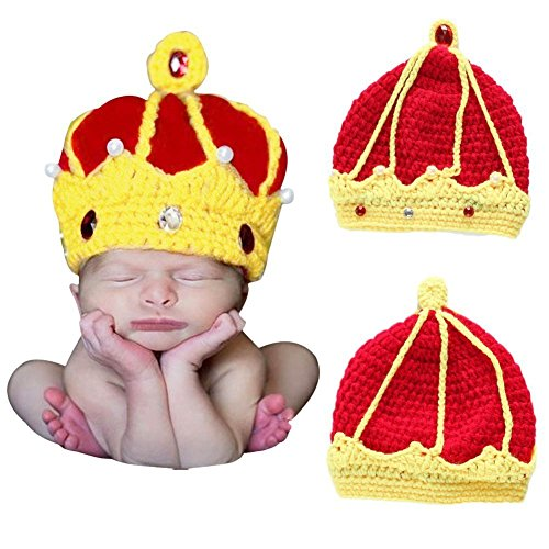 A-cool Newborn Baby Crown Prince Super Cute Hats Knitted Crochet Costume Photo Photography Prop -