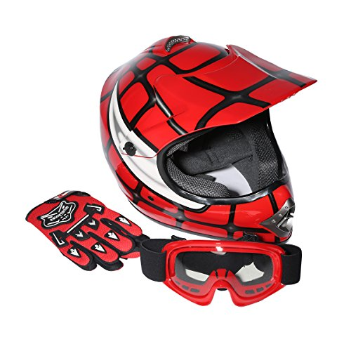 XFMT XFMT Youth Kids Motocross Offroad Street Dirt Bike Helmet Goggles Gloves Atv Mx Helmet XL, Red Spider