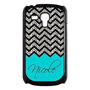 Black Grey Chevron & Turquoise Pattern (NOT ACTUAL GLITTER) Personalized Custom Best Plastic Case for Samsung Galaxy s3 MINI ,Black or White for Choice