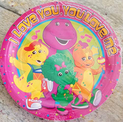 Gallmark Barney Party Plates Lunch Birthday Baby Boop Decoration 8 PC I Love You