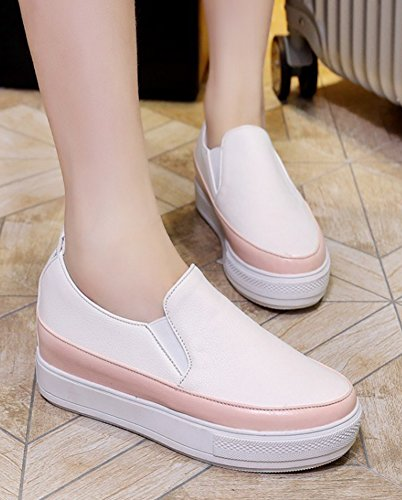 Aisun Femmes Simple Décontracté Semelle Épaisse Bas Top Plat Mocassins Plate-forme Slip Sur Espadrilles Chaussures Rose