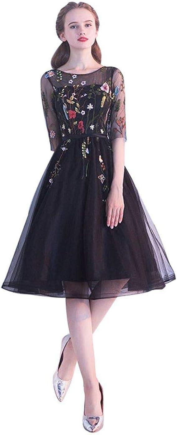 格安高級半袖刺繡花柄ネイビーブラックシースルー チュールミディアムドレス披露宴お呼ばれ結婚式パーティードレスXS SML XL XXL XXXL