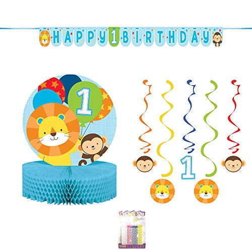 One is Fun Boy 1st Party Decoration Supplies Pack: Honeycomb Centerpiece, Shaped Ribbon Banner, Hanging Swirl Danglers 5ct, and Birthday Candles (Deluxe Bundle)