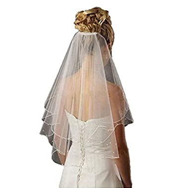 Fishlove Cute 2 Tiers Pearl Beaded Ribbon Edge Tulle Bridal Wedding Veils With Comb V26