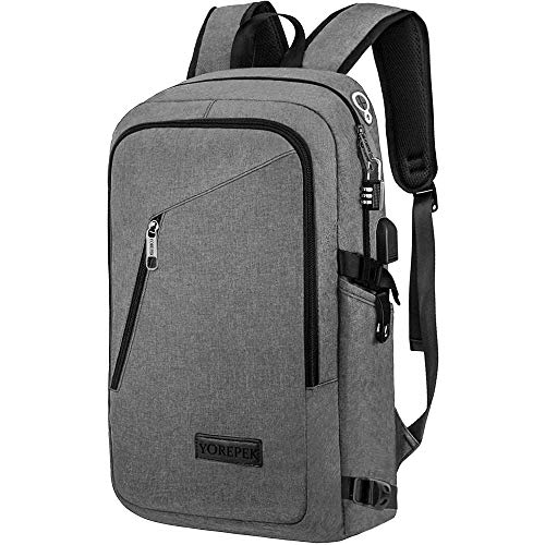 Business Laptop Backpack, Mancro Travel Bag with Headphone Port and USB Charging Hole, Ecofriendly Water Resistant Backpack for Women / Men, Fits Under 17 Inch Laptop / Tablet (Gray)