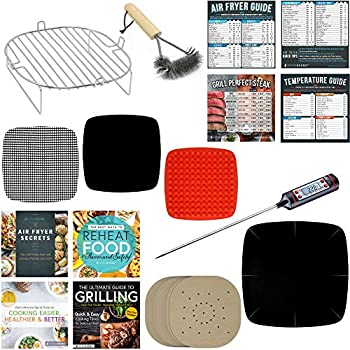 Air Fryer Parchment Paper Accessories Compatible With Dash, Power Airfryer Oven, Secura, NuWave, Philips, Emeril Lagasse, Bagotte, Costzon, Enklov +More | AirFryer Accessory Set + Stainless Steel Rack