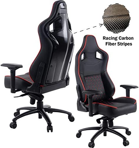 YOUNIKE Gaming Chair Carbon fibe Racing Style Adjustable Height Executive Office Computer Chair Recliner Swivel Rocker Desk Chair Black
