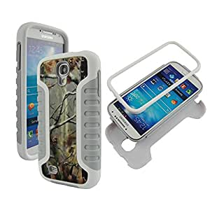 PC Grey Camo Pine Samsung Galaxy S 4 / i9500 Hybrid High Impact Shock Defender Plastic Outside with Soft Silicon Inside Drop Defender Snap-on Tuff Combo Rugged Body Armor Defender Triple Layer Shockproof Case Cover