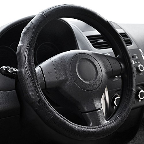 Elantrip Leather Steering Wheel Cover Sport 14 1/2 inch to 15 inch Universal, Padded Soft Massage Grip for Car Truck SUV Jeep, Breathable Anti-Slip Odorless ()