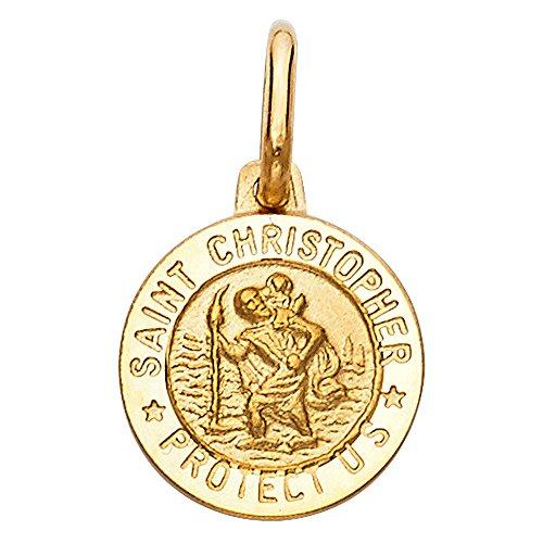 14k Yellow Gold Religious Saint Christopher Medal Charm Pendant (12 x 12 mm) ()