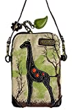 Chala Crossbody Cell Phone Purse - Women Canvas Multicolor Handbag with Adjustable Strap (Canvas Giraffe - Safari Sand)
