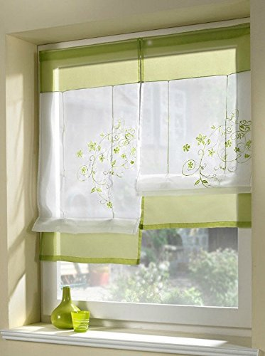 Uphome 1pcs Country Style Embroidered Flower Voile Roman Curtain - Silk Ribbon Lifting Back Tab/Rod Pocket Sheer Window Curtain,31 x 39 Inch,Green (Shabby Chic Kitchen Ideas compare prices)