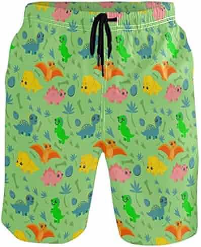 GIRTNKC Mens Color Stripe Summer Holiday Quick-Drying Swim Trunks Beach Shorts Board Shorts