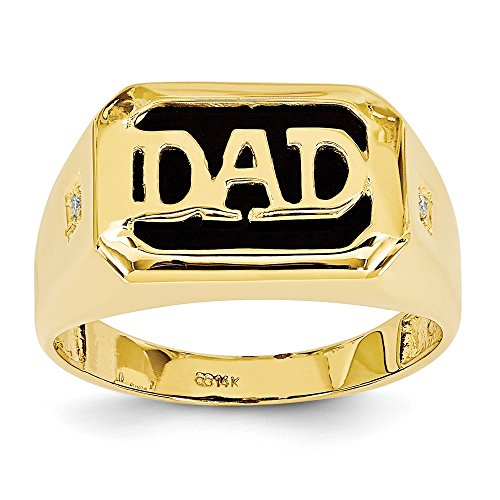 (Size 10 - Solid 14k Yellow Gold AA Diamond Men's Simulated Onyx Dad Ring (12mm))
