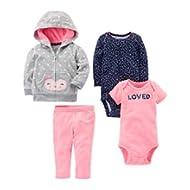 Girls' 4-Piece Fleece Jacket Set