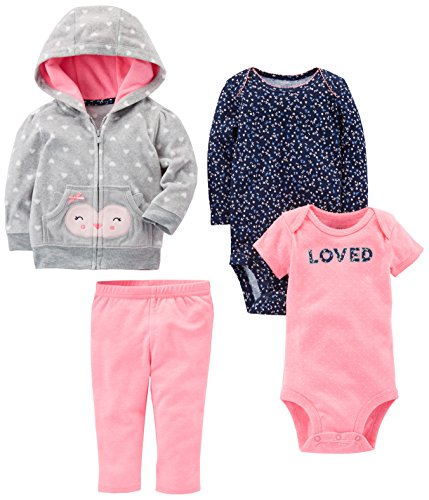 Simple Joys by Carter's Baby Girls' 4-Piece Fleece Jacket Set, Gray/Pink Owl, Newborn ()