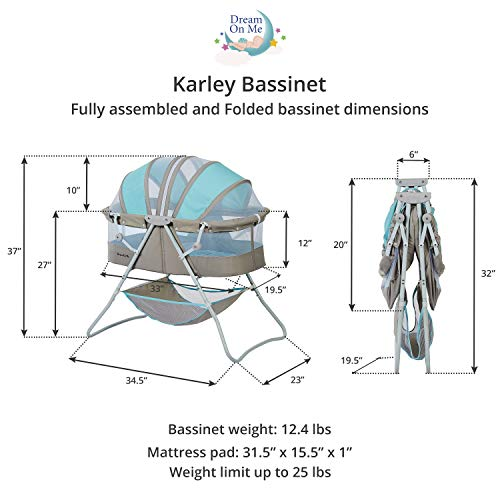 Dream On Me Karley Bassinet, Blue/Grey