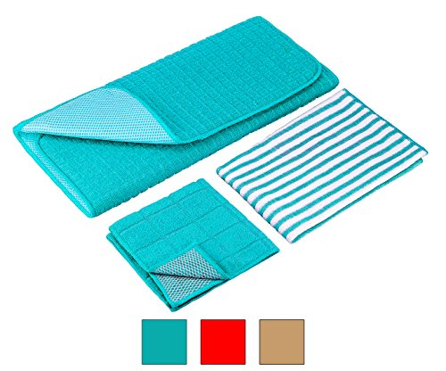 DecorRack Dish Drying Mat Set of Microfiber Draining Mat 15 x 20 inch, Microfiber Kitchen Towel and Scrubbing Cloth, Turquoise (Set of (K-mat Ultra Kitchen Mat)