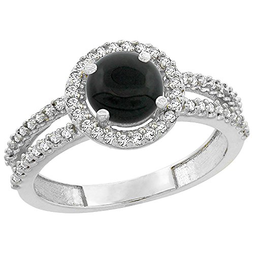 (14K White Gold Natural Black Onyx Diamond Halo Ring Round 6mm, size)