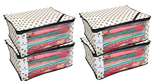 Kuber Industries™ Non Woven Polka Dots Designer Saree Cover Set of 4 Pcs  Ivory