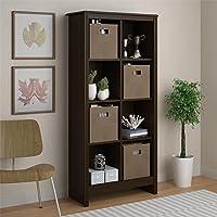 Altra Furniture 8 Cube Storage Cubby Bookcase with 4 Storage Bins in Resort Cherry
