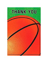 Amscan Basketball Dream Birthday Party Folded Thank You Cards (8 Piece), Green/Orange, 7.3 x 4.5