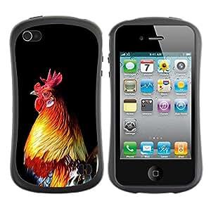 Paccase / Suave TPU GEL Caso Carcasa de Protección Funda para - cock bird chicken golden rooster black - Apple Iphone 4 / 4S