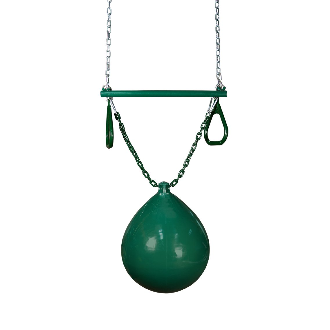 Gorilla Playsets 04-0012-G/G Buoy Ball with Trapeze Bar, Green, 36.5'' Plastisol Coated Green Chains by Gorilla Playsets