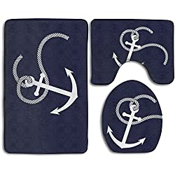 Blue Anchor Non-Slip Bath Mat Set 3-Piece Soft Bath Rug Set Includes Bathroom Rugs/Contour Mat/Toilet Cover