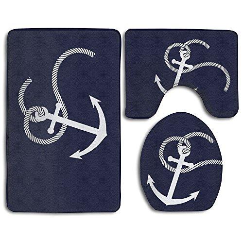 Blue Anchor Non-Slip Bath Mat Set 3-Piece Soft Bath Rug Set Includes Bathroom Rugs/Contour Mat/Toilet Cover