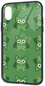 iPhone X/Xs Case Tempered Glass Back Cover and Soft Silicone TPU Slim Fit Protective Case for Owl Stylized Art Green Colors iPhone X/Xs TPU Glass Phone Case