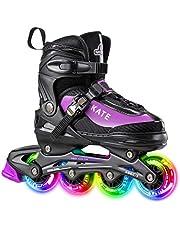 Hiboy Verstelbare inline skates met alle verlichte wielen, verlichte outdoor- en indoor-rolschaatsen voor jongens, meisjes en beginners