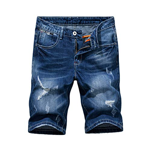 Heart Yuxuan Men's Fashion Slim Casual Denim Short (36, Dark Blue)