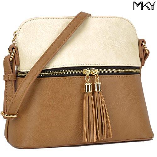 PU Tassel ivory Brown Leather Purse Bag Large Fashion Crossbody Medium 051 Ladies Shoulder Capacity dRFHd4