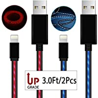 Lightning Cables,AoLiPlus 2Pack Visible Flowing EL Light LED Charging Cords Sync Data Cord for iPhone 7/7 Plus/ 6/ 6 Plus/ 6s/ 6s Plus /5/5s/SE iPad/iPod/Beats Pill+ and More 3ft(Blue&Red)