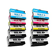 10 Pack - Compatible High Yield Ink Cartridges for 950XL & 951XL H-950 H-951 H-950XL H-951XL 950 951 XL (Black, Cyan, Magenta, Yellow) Works With Following Printer Models: HP OfficeJet Pro: 8100 , 8600 , 8600a ,8610 , 8630 , 8640 , 8650 , 8660 , 251dw , 271dw , & 276dw and e-All-in-One Printers N911g , N911n , N911a by Forlei® Products
