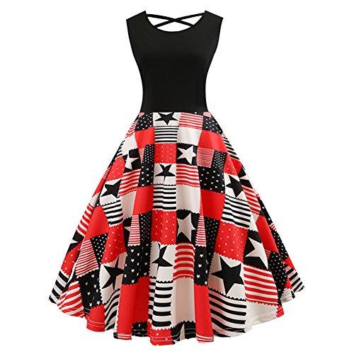 (Vogueshop Vintage 50s Print V Back High Waist Cocktail Swing Dress for Women)