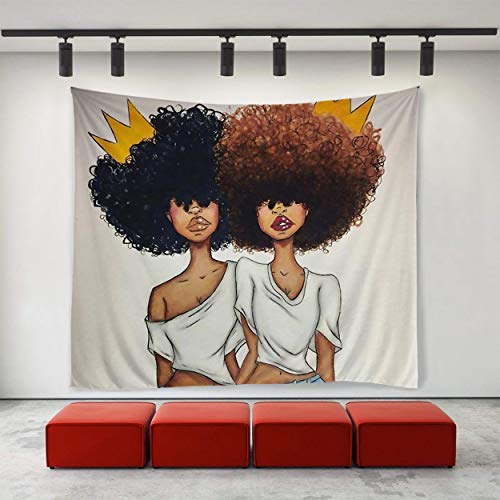 (SARA NELL Tapestry Black Art African American Sister with Crown Tapestries Hippie Art Tapestry Wall Hanging Home Decor Extra Large Tablecloths 50X60 Inches for Bedroom Living Room Dorm Room)